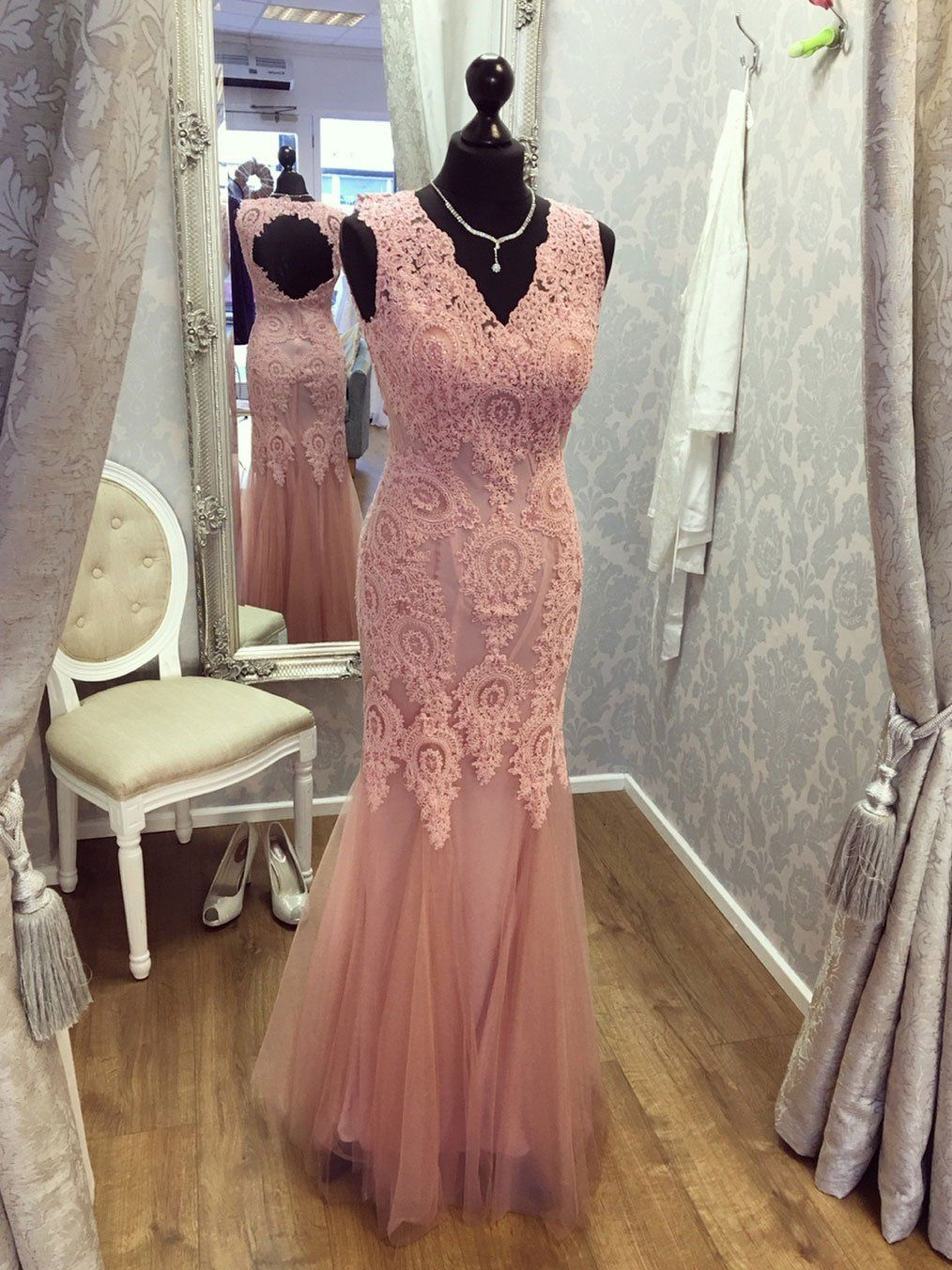 Cheap pink formal evening dress v neck long lace beaded mermaid prom