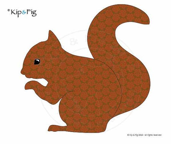 red squirrel applique template pdf applique pattern by kipandfig