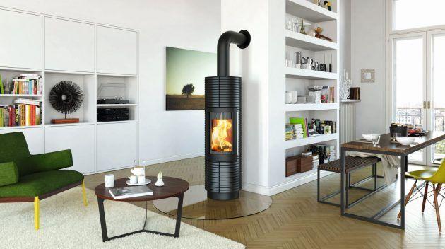 runder kamin - ofen in schwarz - freistehend - wohnzimmer ... - Ofen Für Wohnzimmer