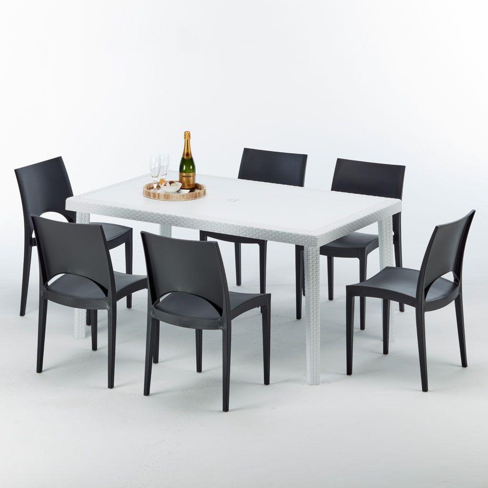 Tavolo E Sedie Rattan Bianco.Tavolo Rettangolare 6 Sedie Rattan Polyrattan Colorate 150x90