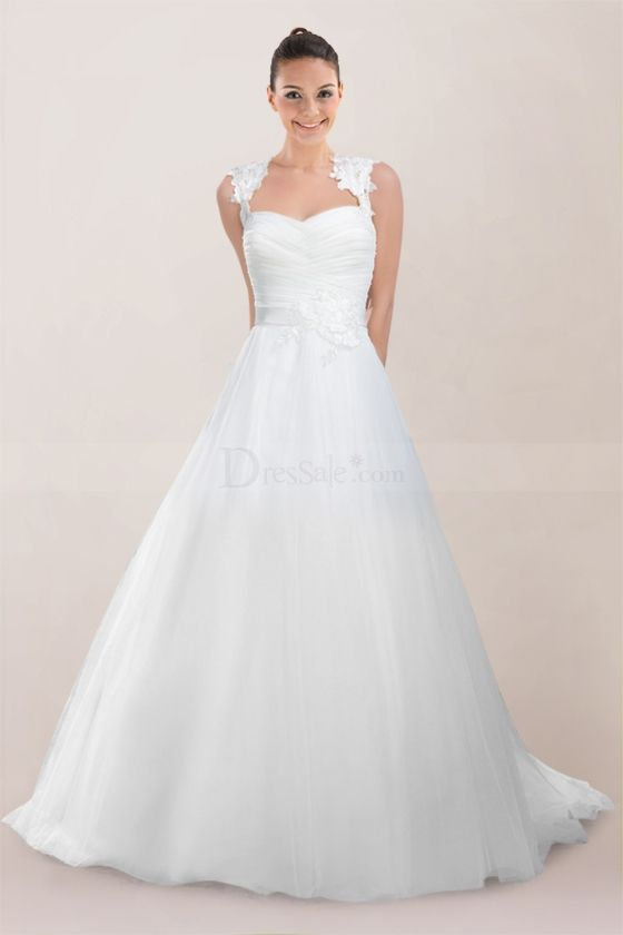 Dreamy Tulle Princess Bridal Gown Holding Ruched Bodice and Illusion Lace Back