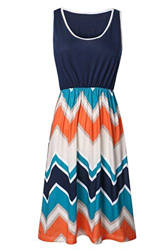 Zattcas Womens Summer Contrast Sleeveless Tank Top Chevron Striped Mini Dress Medium Navy ** Check this awesome product by going to the link at the image.