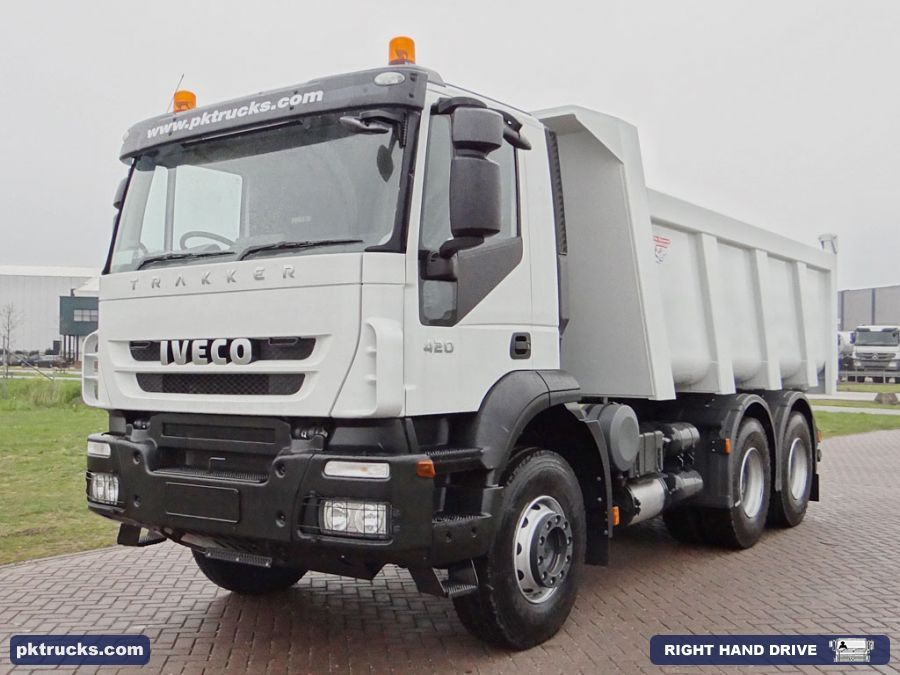 2 units Iveco Trakker AD720T42T 6x4 Ruizeveld, 16 cbm, tipper.  Price: € 89.500,-  Axles: 6x4  Emission: Euro 3  Cabin: active day cabin  HP/KW: 420 HP / 313 Kw  Gearbox:Manual gearbox  Wheelbase: 3500/1380 mm  Suspension: steel spring  More information: http://www.pktrucks.com/stock/view/iv2601