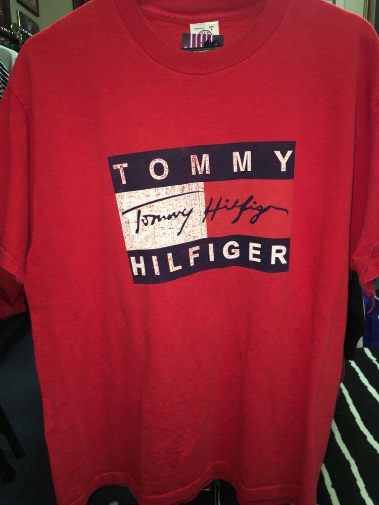 59812a4f133 Details about Vtg Tommy Hilfiger Jeans Men s XXL Red Logo Baseball ...
