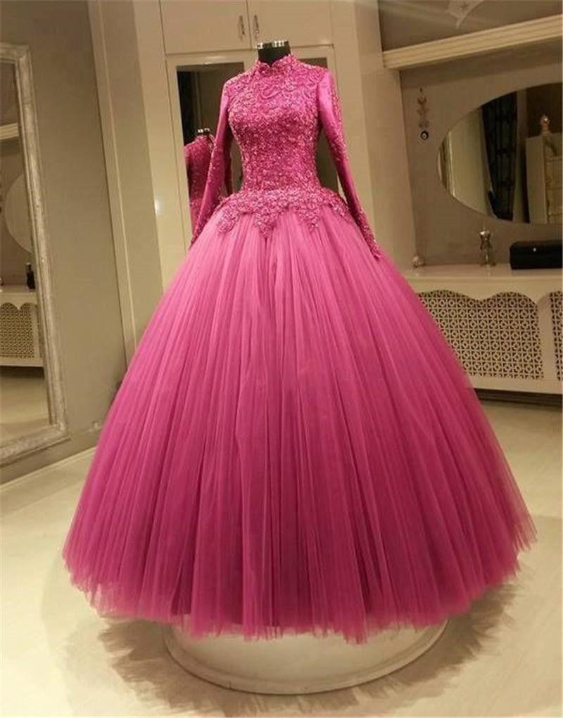 Prom Dress New Cheap Muslim Fuchsia Color Wedding Dresses A Line