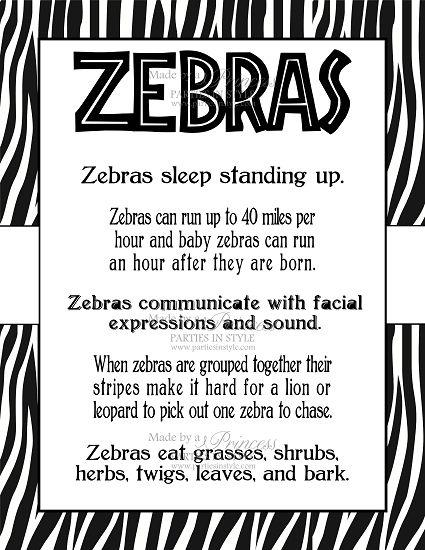 Safari Wild Adventure Printable 8x10 Zebra Facts Poster | Baby ...