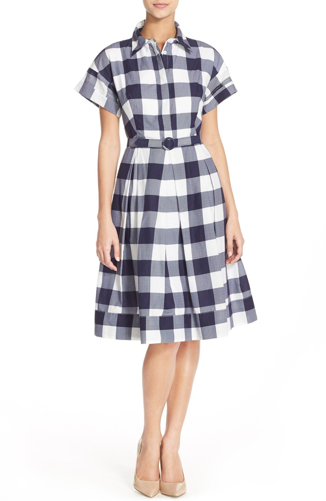 ff01eab819a Free shipping and returns on Eliza J Gingham Shirt Dress (Regular   Petite)  at Nordstrom.com. Channel the  50s in this gingham check fit-and-flare dress