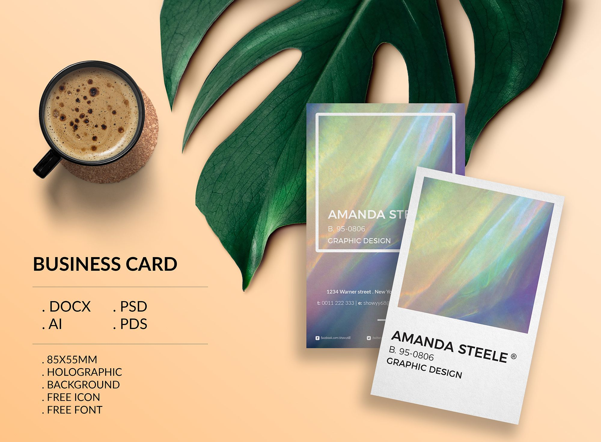 """check out my behance project """"holographic business card template"""