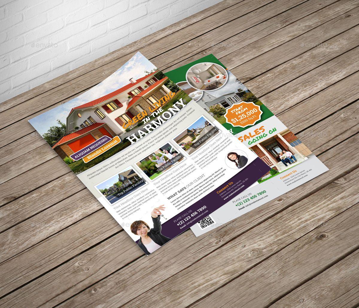 real estate flyer indesign template v2