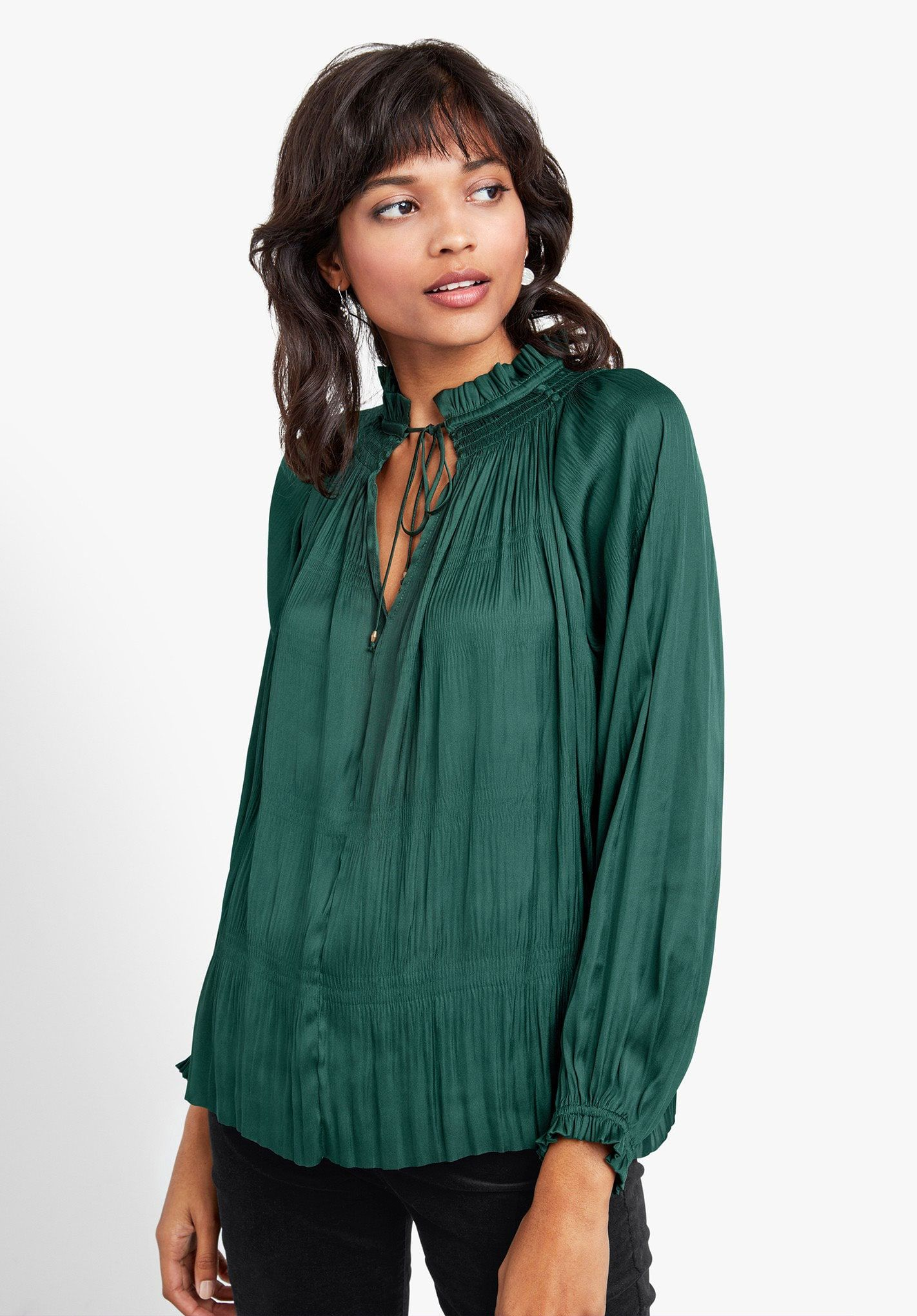 a25ecbe0cb337e Printed Silk Cami | Woven Tops | Blouse, Flowing blouse, Ruffle blouse