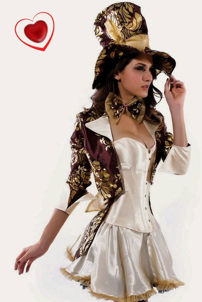 373b1fb987 Womens Sexy Mad Hatter Tea Party Alice In Wonderland Fancy Dress Costume  Corset