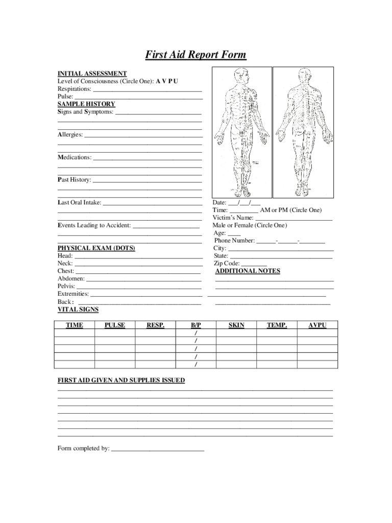 First Aid Report Form 2 Free Templates In Pdf Word Excel Regarding First Aid Incident Report Form Te Incident Report Form Incident Report Business Template