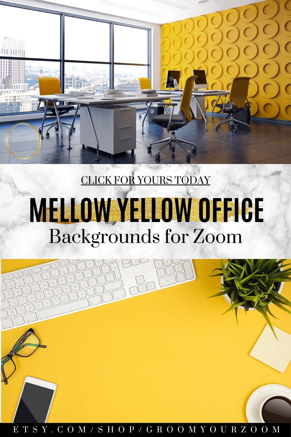 Yellow Office Zoom Background 4 Virtual Photos For Video Etsy Yellow Office Background Office Background