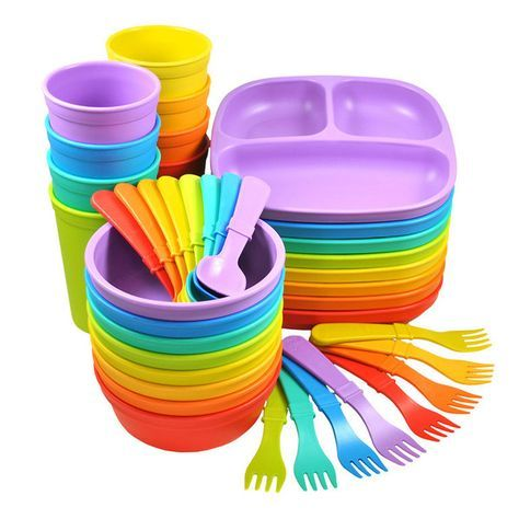 3pk Divided Plates with Matching Utensils Set Re-Play Made in The USA Dinnerware Set Princess