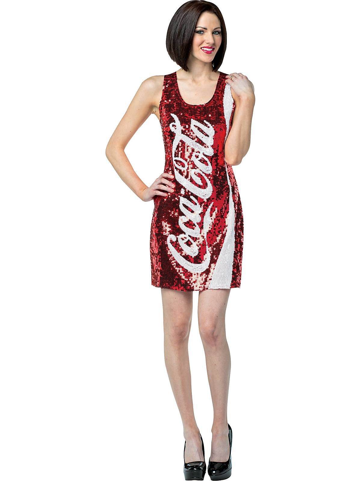 d6b445bf926 Womens Coca Cola Coke Sequin Tank Dress Costume - Womens Food Costumes at  Wholesale Prices