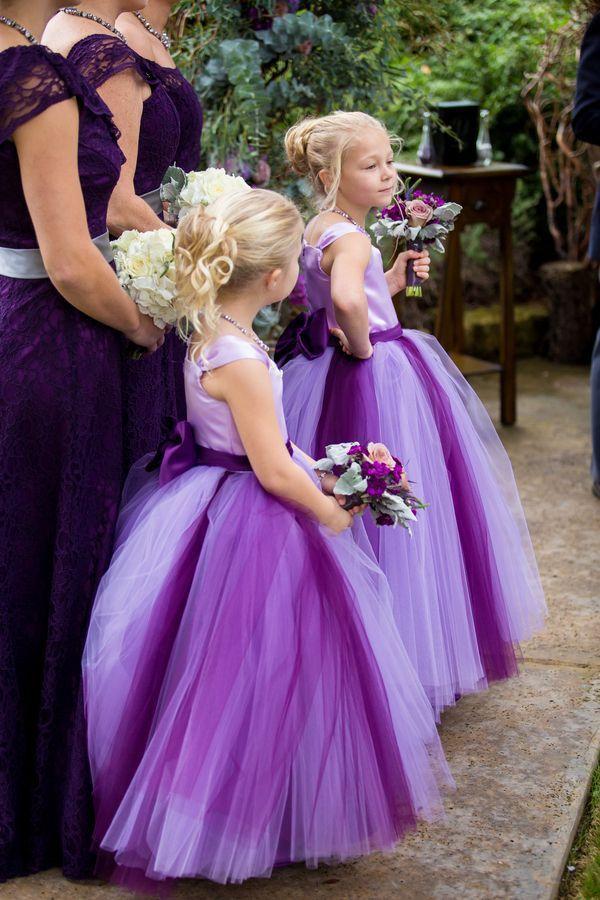 white and purple flower girls dresses satin bow sashes fluffy tulle ...