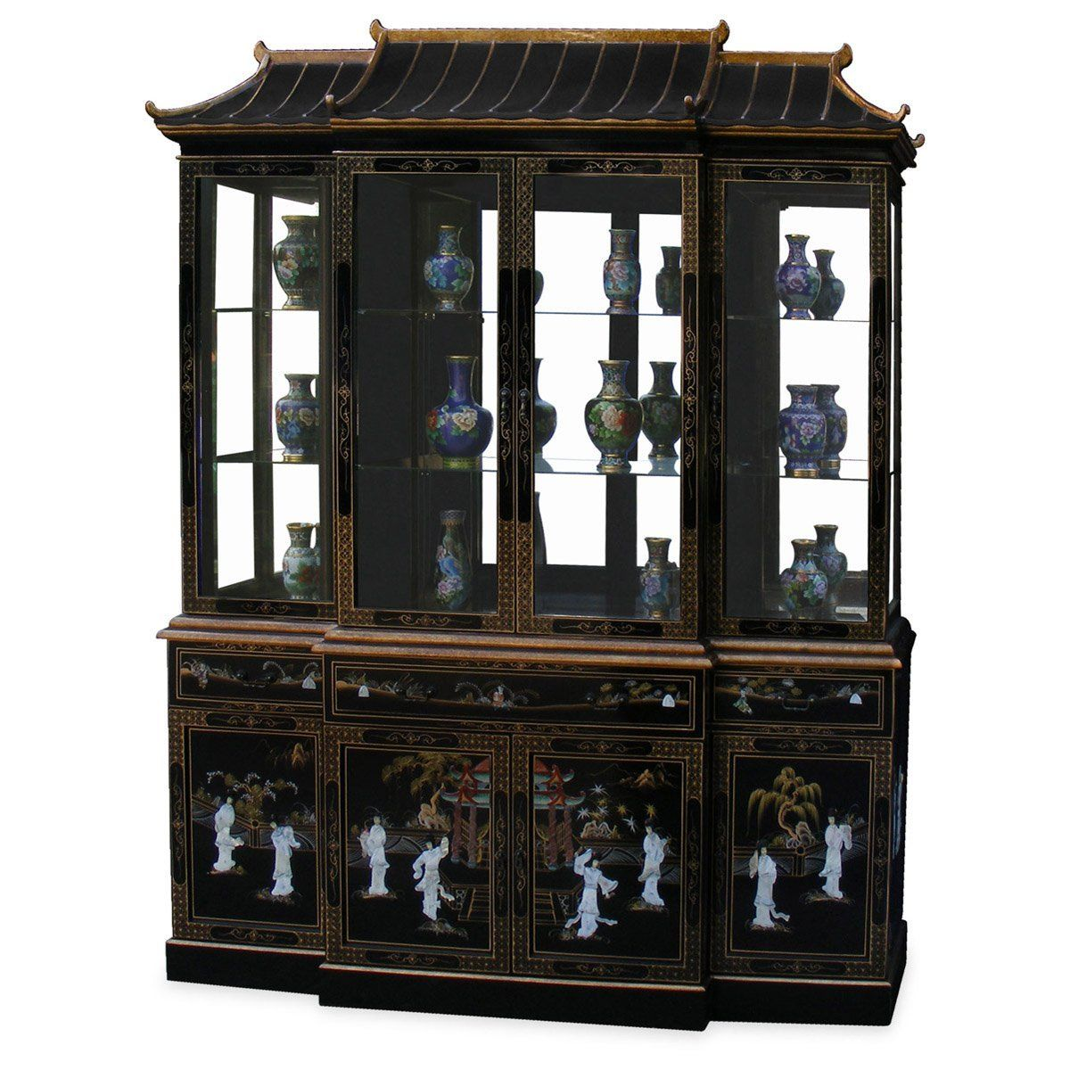 Best Amazon Com Black Lacquer Pagoda China Cabinet Home 400 x 300