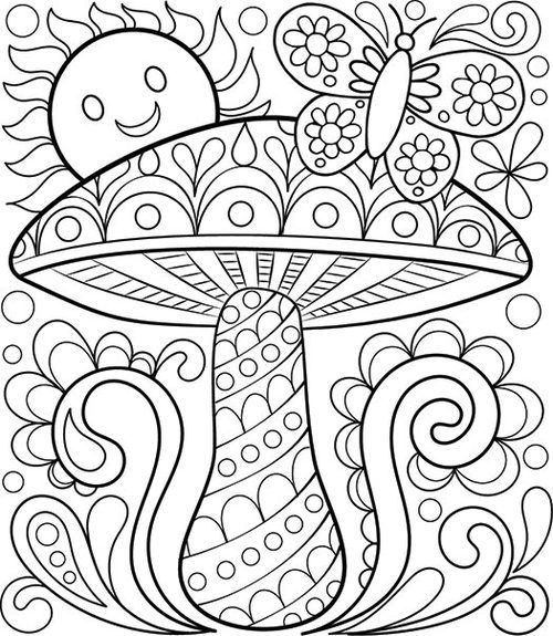 Pin On Mushrooms Toadstools Colouring Pages