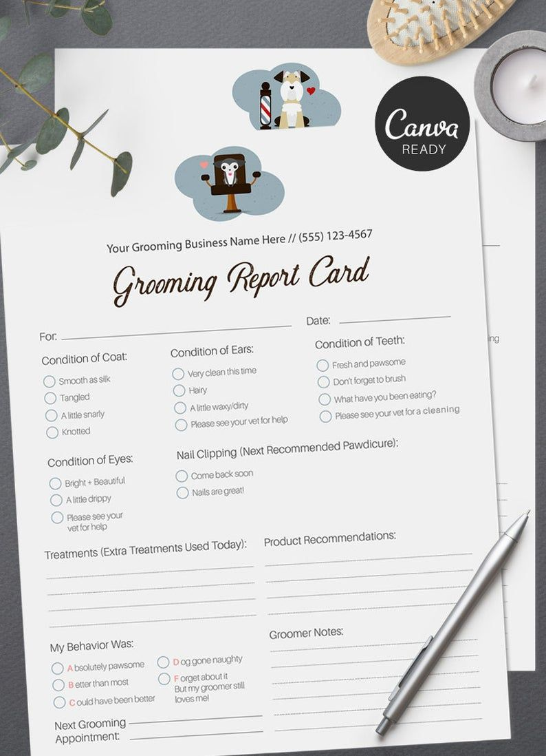 Stylish Pet Grooming Report Card Pack Pet Groomers Pet Business Printable Pre Made Design Pet Report Cards Pet Grooming Business Pet Grooming Grooming Salon