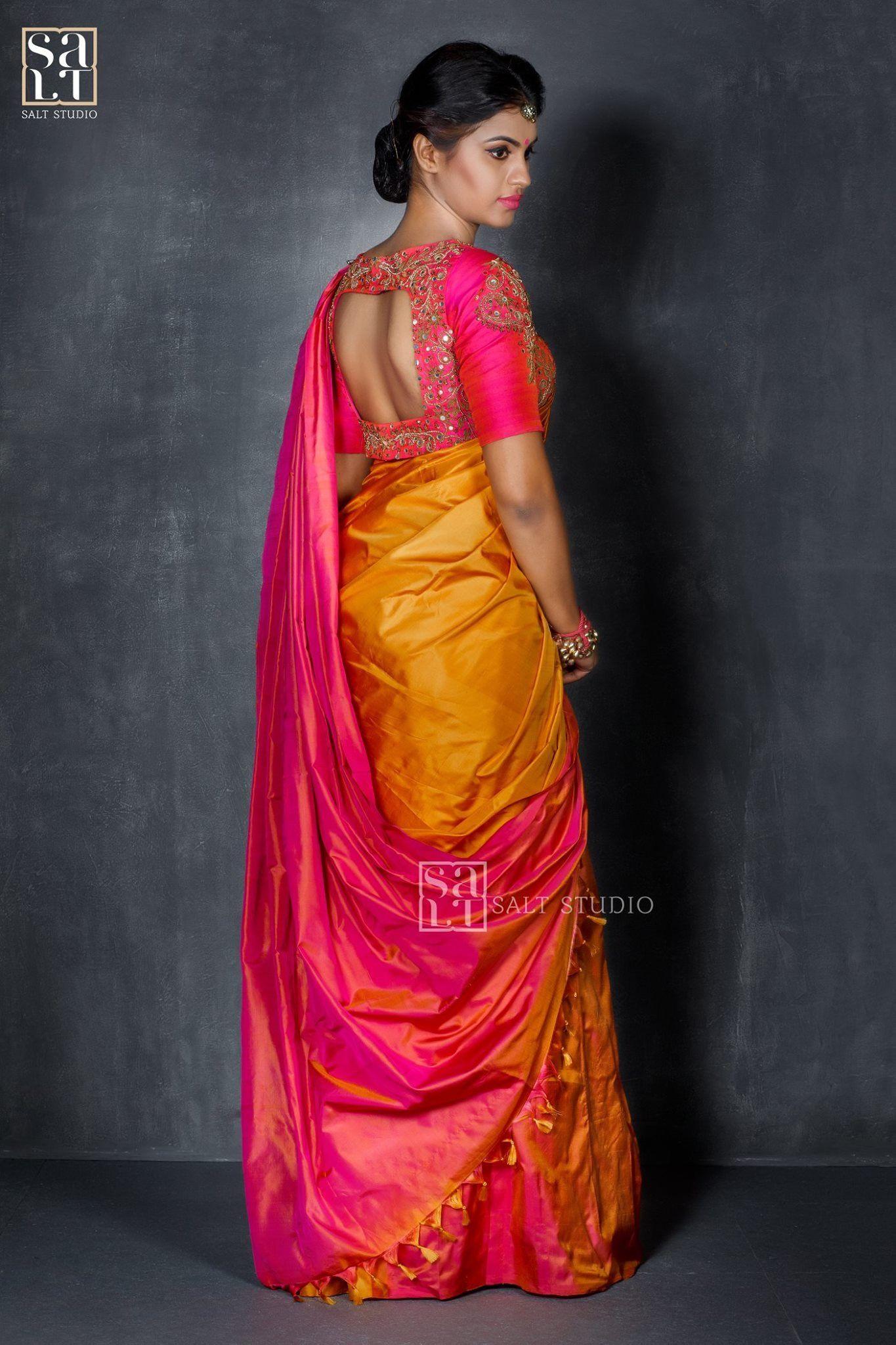f820510ad87966 Beautiful saree pink n golden | Sarees | Silk saree blouse designs ...