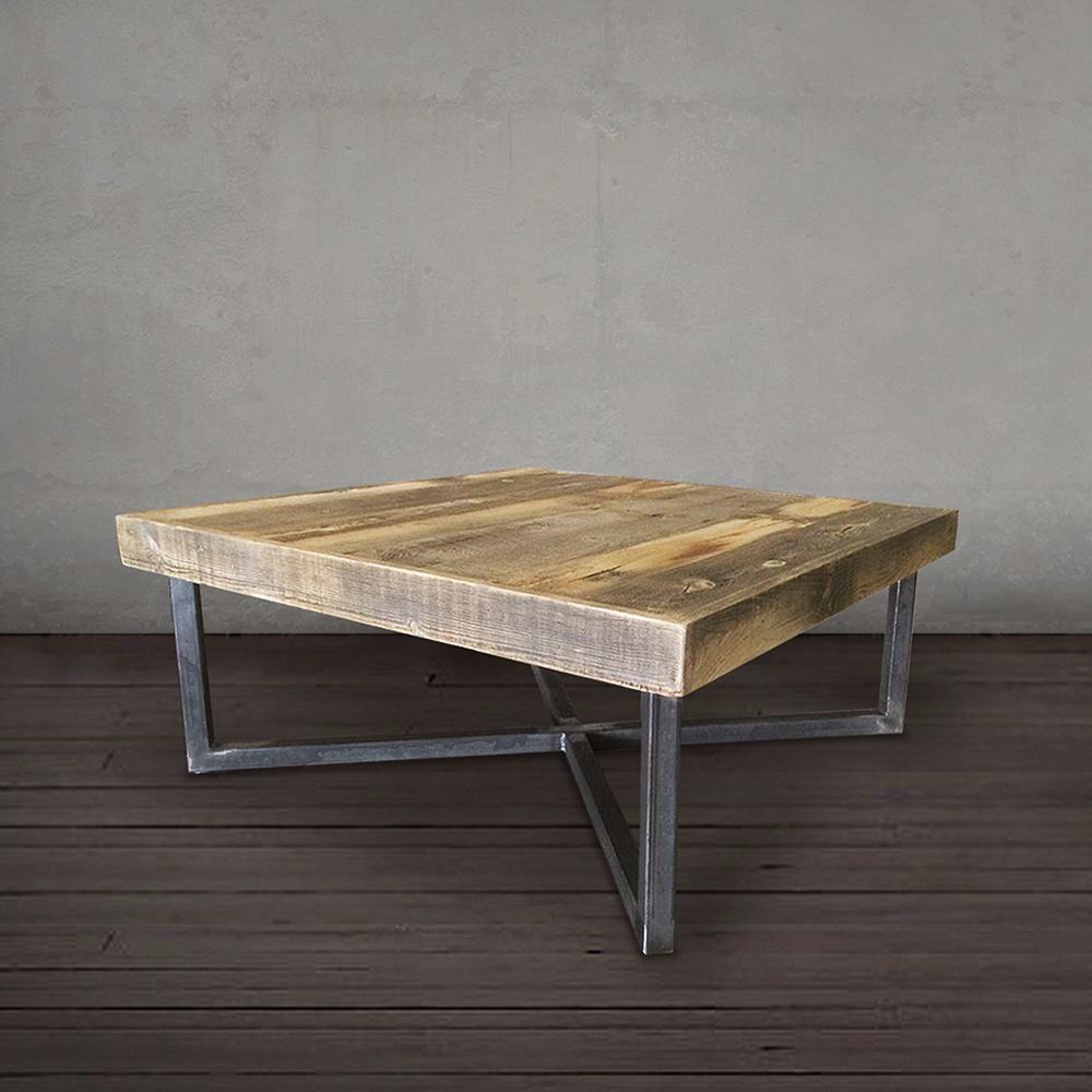 Reclaimed Wood And Metal Coffee Table 40 Crossed Tube Steel Legs