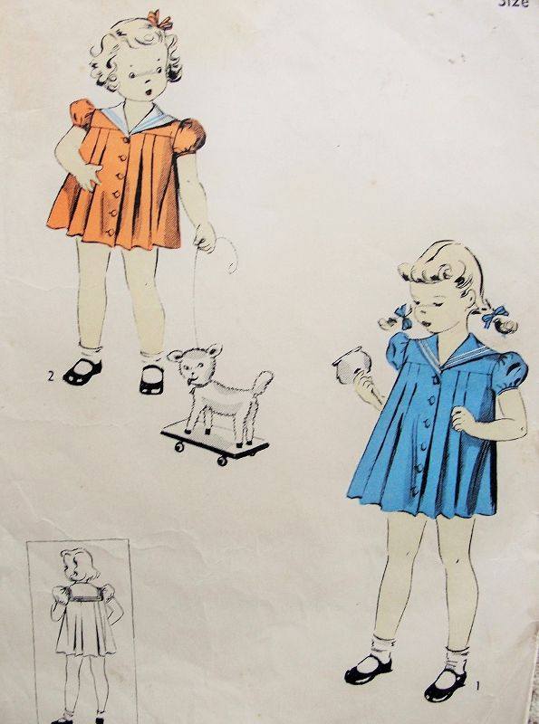 1930s Adorable Little Girls Toddlers Sailor Collar Pleated Dress Pattern So Shirley Temple Style DuBarry 5516 Childrens Vintage Sewing Pattern Size 3