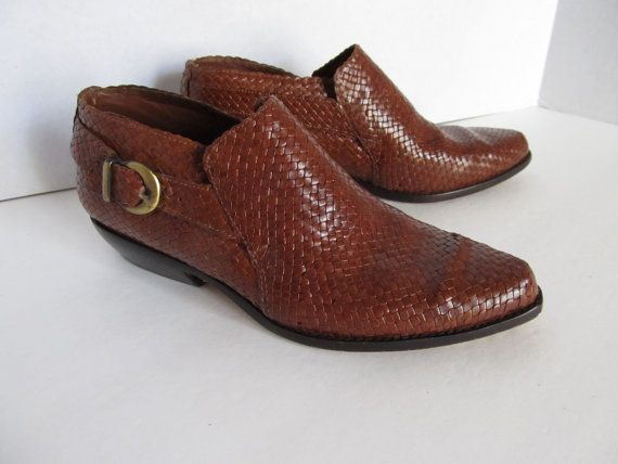 Cole Haan Woven Leather Booties 8 Western by ThreeHermanas on Etsy, $58.00