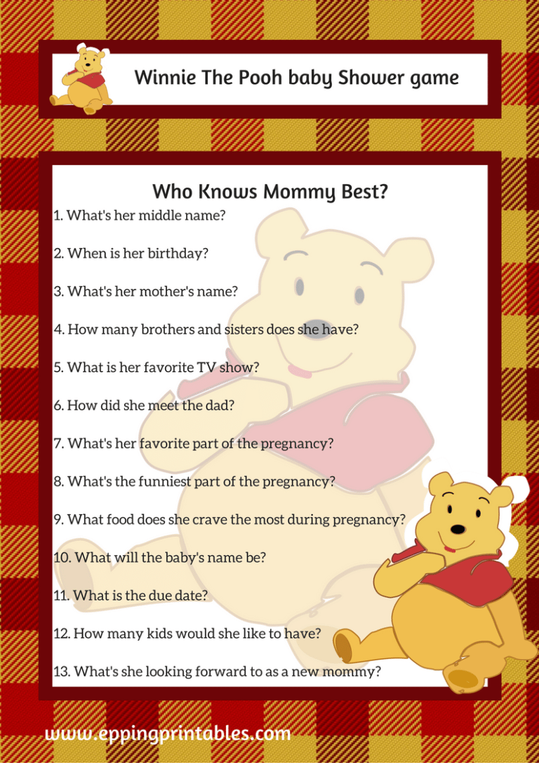 Winnie The Pooh Baby Shower Game Who Knows Mommy Best ...