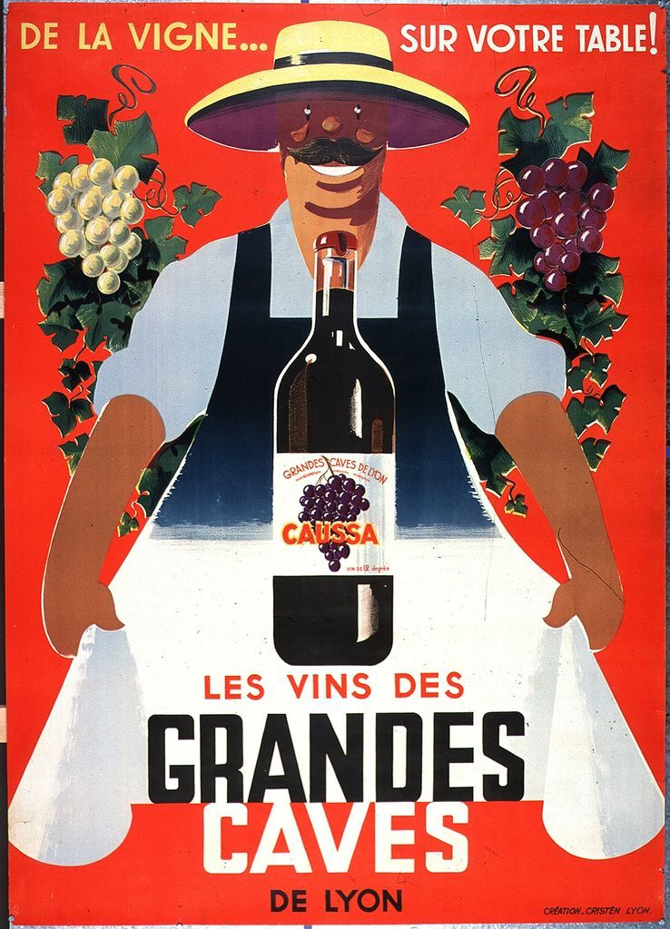 les vins des grandes caves de lyon alcohol vintage poster vieille affiche publicitaire d. Black Bedroom Furniture Sets. Home Design Ideas