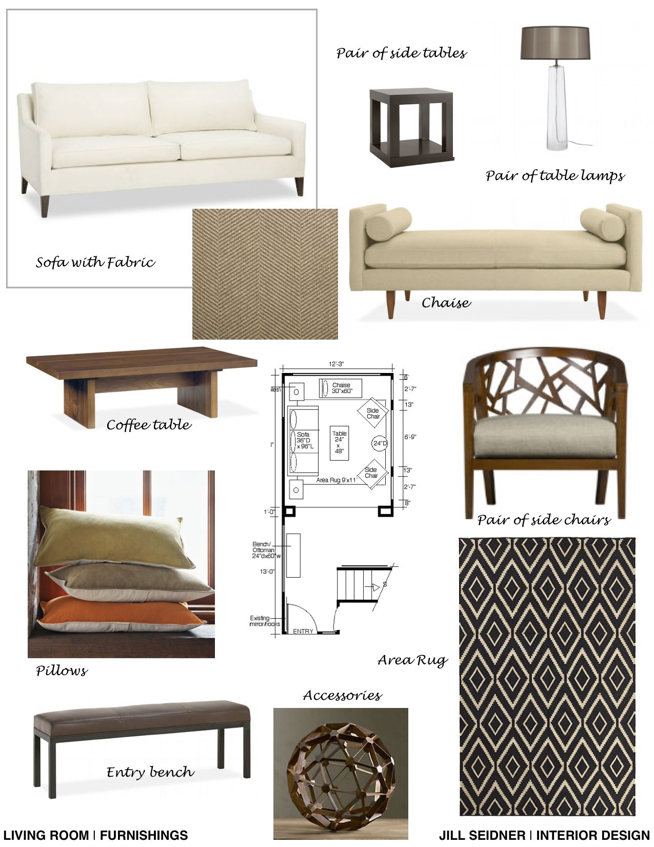 Help Designing A Room: Concept Board For Furnishings For A Living Room Project