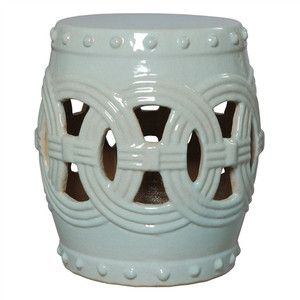 Linked Fortune Garden Stool In Celadon Design By Emissary