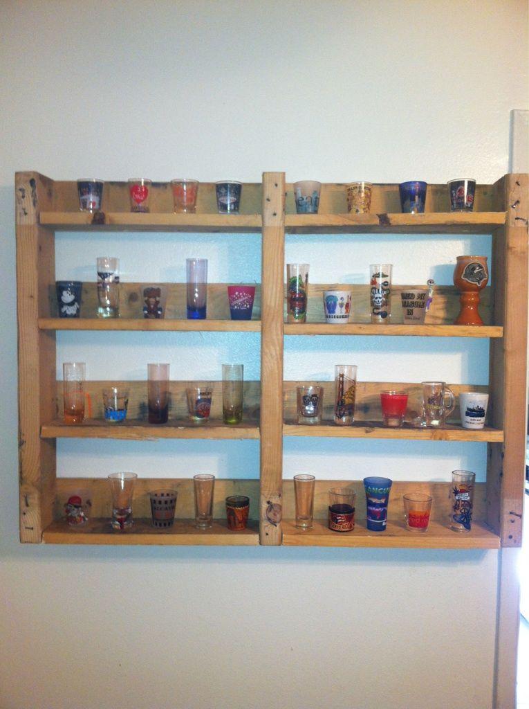 A Shot Glass Shelf From A Pallet Pallet Shelves Wooden Pallet Shelves Wooden Pallet Crafts