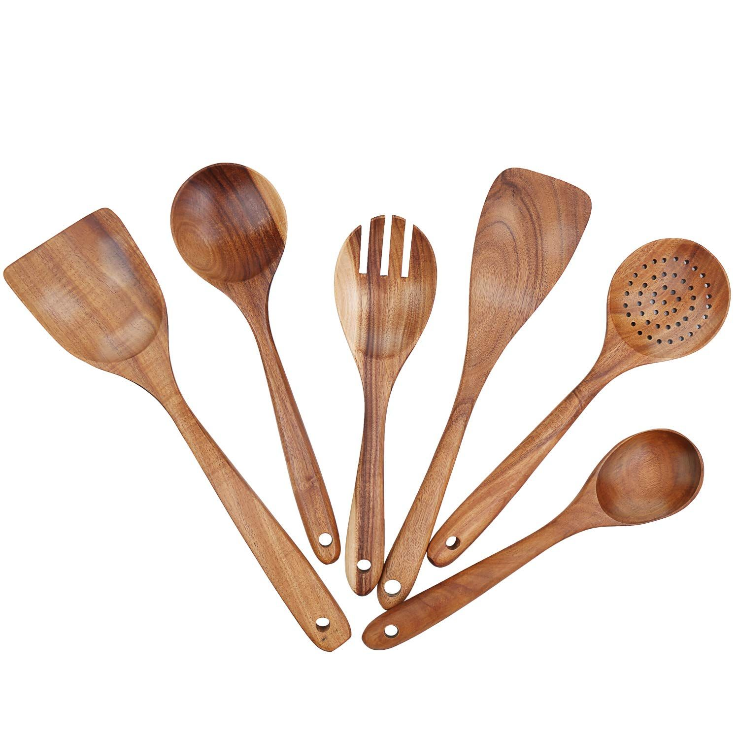 LOHOME Set of 4 Natural Wooden Spoons Dinner Tools Spatula Slotted Spoon /& 2 Soup Spoons Kitchen Utensil Set