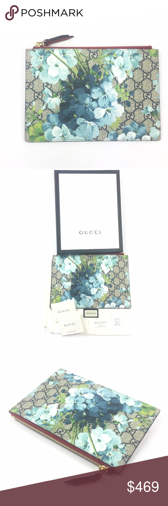 3fadd9aaba3c Gucci #546370 GG Supreme Bloom ZipTop Pouch/Clutch - Bloom Multicolor GG  Supreme Coated