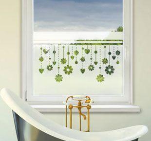 Sichtschutzfolie mit Blumen und Herzen | Sichtschutzfolie ...