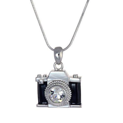 "Amazon.com: Silvertone Miniature Black Crystal Camera Pendant Necklace 18"": Jewelry"