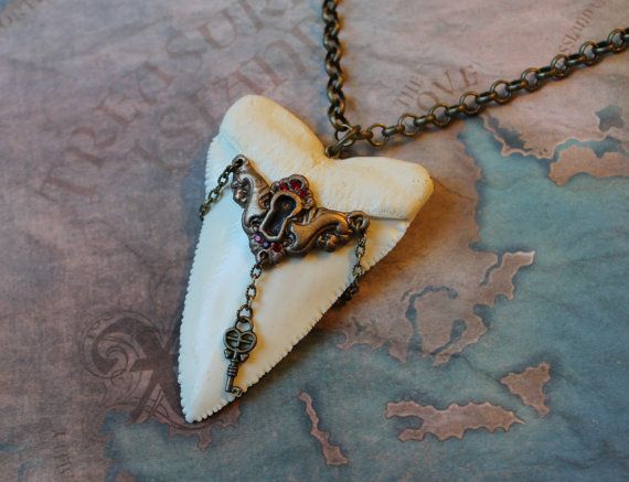Great white shark tooth pendant necklace nautical steampunk oversized great white shark tooth pendant necklace w keyhole and key by tursiart aloadofball Gallery