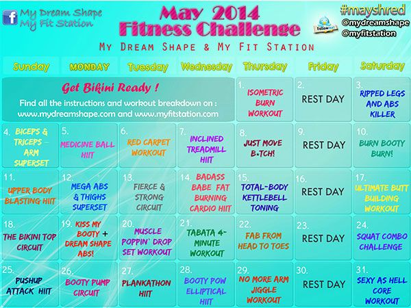 May Fitness Challenge And Workout Calendar  My Dream Shape