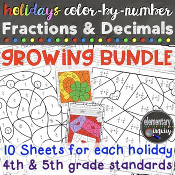 Fractions and Decimals Color by Number Holidays Bundle