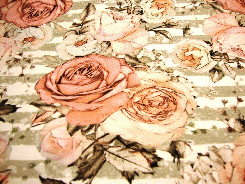Baumwoll Jerseystoff Digitaldruck Grosse Rose Rosen Blumen Auf Streifen Beige Grau Altrosa Handmade Art Art Painting