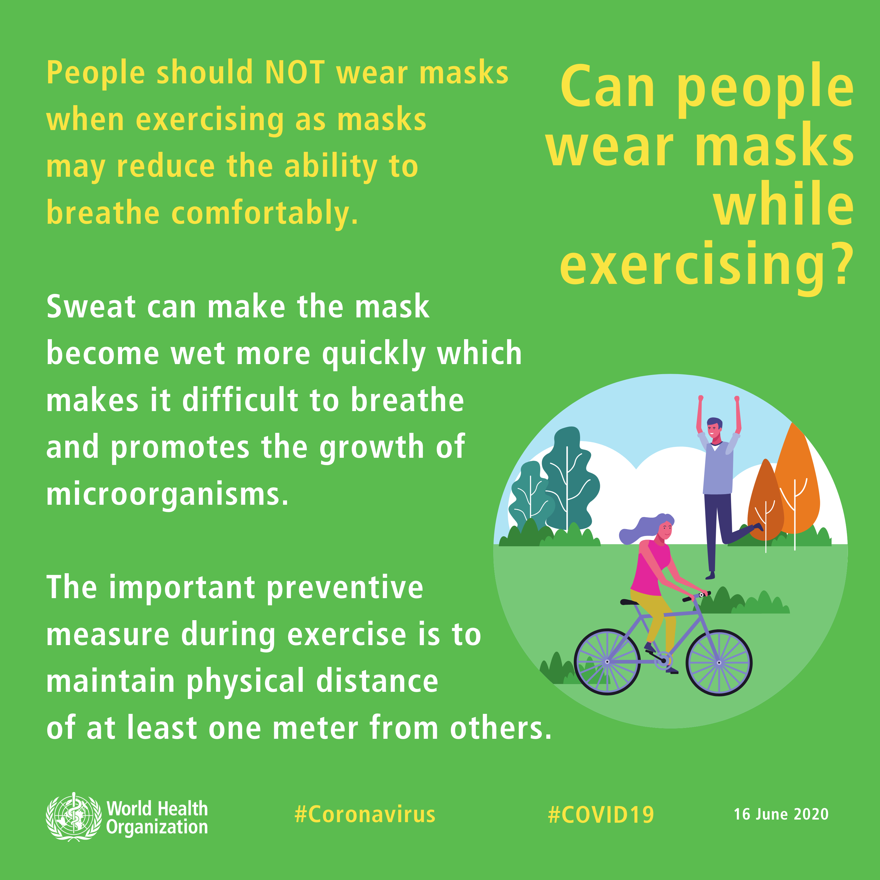 People should NOT wear masks when exercising as masks may