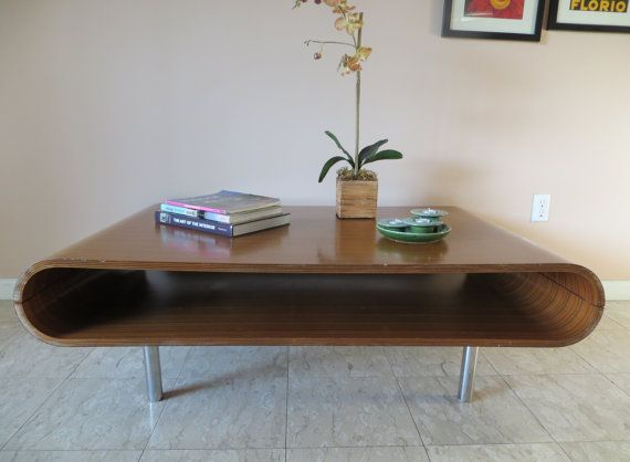 Retro Mid Century Modern Large Coffee Table Curved Rounded Edges Open Bottom Shelf