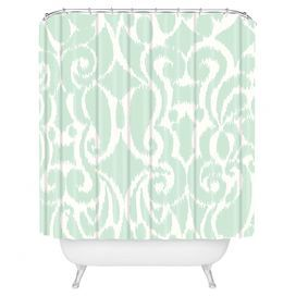 Woven Shower Curtain With Buttonhole Openings And A Seafoam Damask