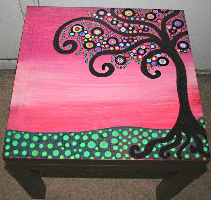 Tree Of Life Themed Hand Painted Coffee Table