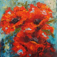 Coquelicots Rouges Fleurs Peinture Au Couteau Impressionniste