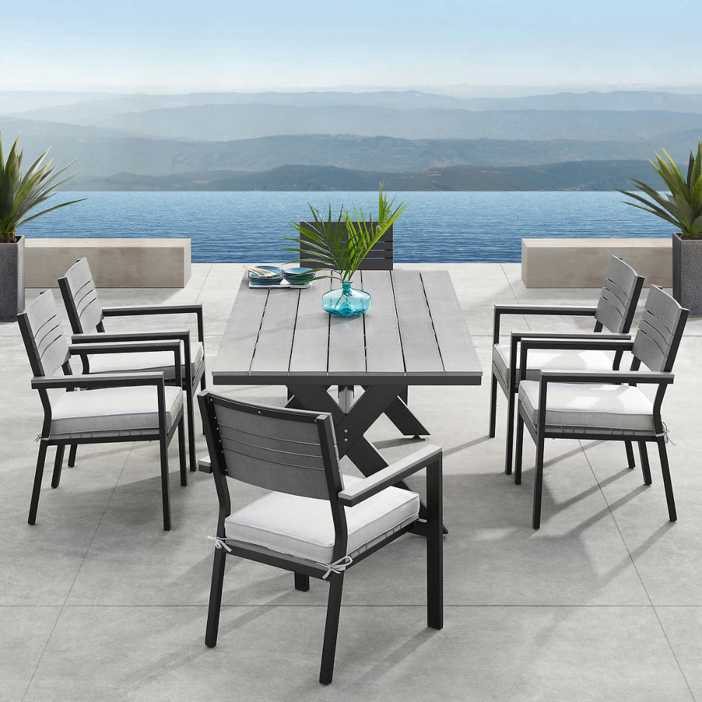 Colonial 7 Piece Dining Set Gray Patio Furniture Outdoor Deck