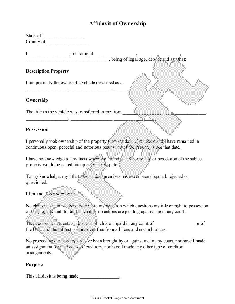 Sample Affidavit Of Ownership Form Template  I Love