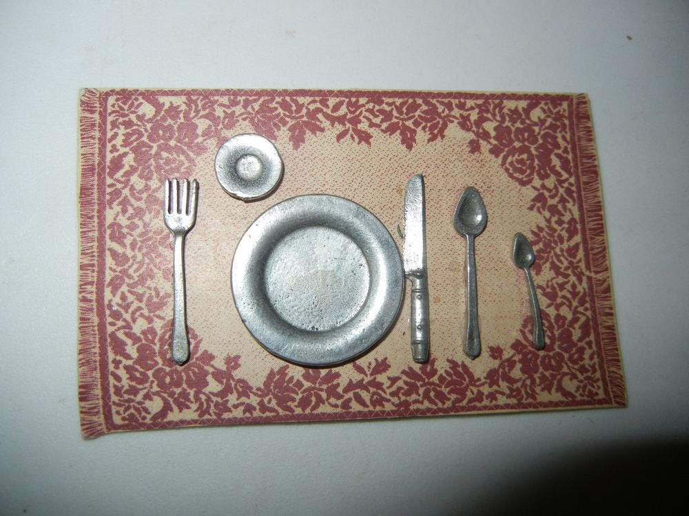 """VINTAGE 6 Piece MINIATURE ENGLISH PEWTER Dollhouse Place Setting Scale 1"""" to 12"""""""