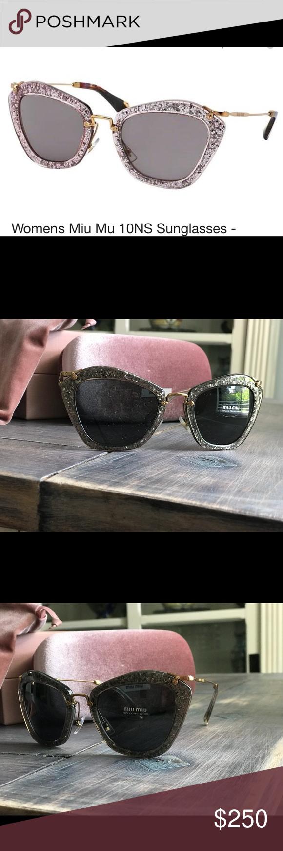 d60e605a56684 MIU MIU NOIR MU10NS Grey Smoke Glitter Gold Sunglasses 10N Geometric  Mirrored