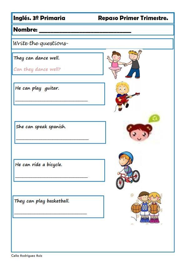 Ejercicios de ingl s para tercero de primaria ingles for Para desarrollar una entrada practica